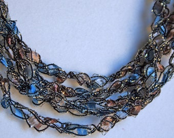 Denim Dust   - Crocheted Necklace