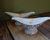 Vintage Haeger White Lava on Putty Brown Mid Century Taper Candle Holders