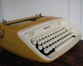 Vintage Mustard Yellow Royal Safari Cursive Typewriter