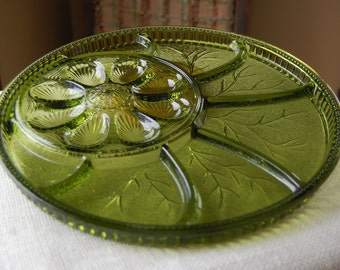 Indiana Glass Pebble Leaf Vintage Relish & Egg Tray