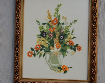 Vintage Crewel Embroidered Floral Wall Hanging with Gorgeous Frame Wood Frame