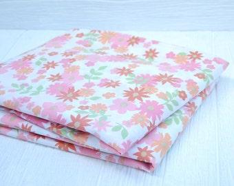Twin Flat Vintage Floral Print in Tangerine Orange, Soft Pink & Fresh Green