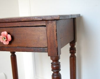 Very Vintage Side Table with Kick Ass Patina and Delicious Anthropologie Knob
