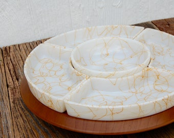 Vintage Yellow and White Milk Glass String Lazy Susan