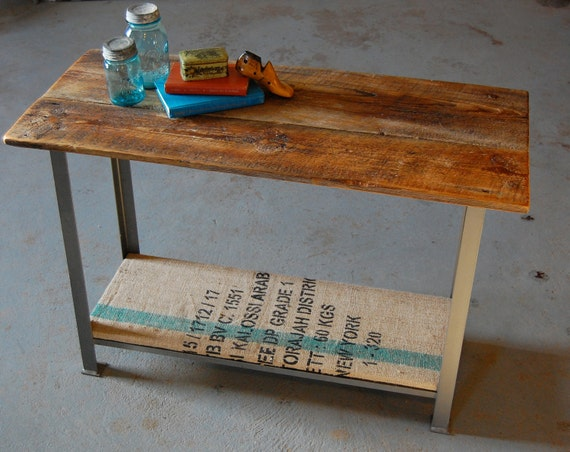 Vintage Industrial Sofa or Side Coffee Table with Barn Wood Top