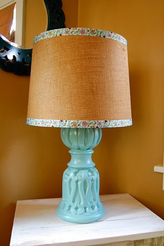 vintage curvy aqua blue lamp with burlap barrel by sugarscout. Black Bedroom Furniture Sets. Home Design Ideas