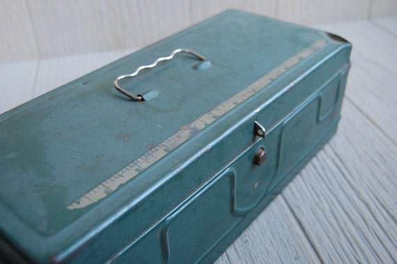 Vintage Industrial Metal Tackle Box with Measuring Tape