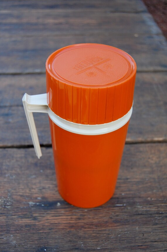 Vintage Stainless Steel Orange Thermos Pint Size