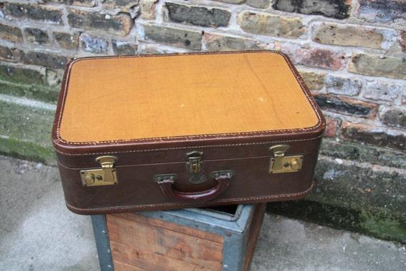 Vintage Stratosphere Leather and Tweedy Hard Side Suitcase