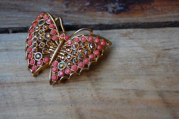 Vintage Peachy Orange Iridescent Butterfly Brooch