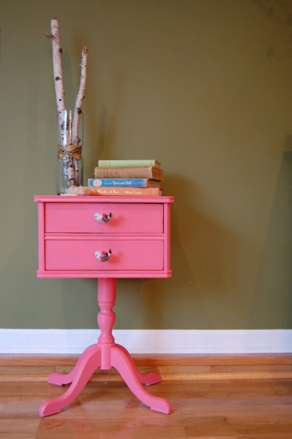 Vintage Adorable Sewing Craft Cabinet Storage / Side Table with Pedestal Foot in Pink