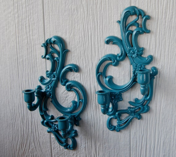 Pair of Vintage Ornate French Style Candle Wall Mount Holders Custom Painted Deep Aqua or in Your Choice of Color