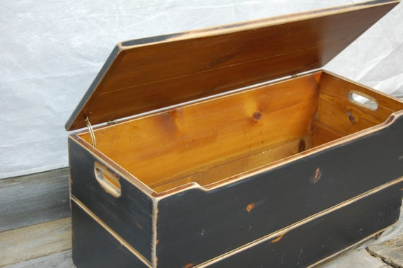 Vintage Wooden Coffee Table or Toy Chest Storage in Black