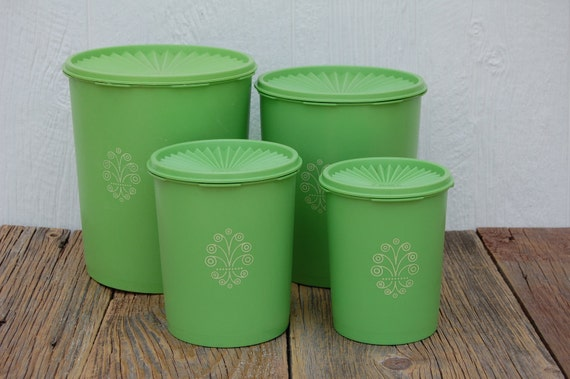 4 apple green tupperware nesting canisters with lids by sugarscout. Black Bedroom Furniture Sets. Home Design Ideas