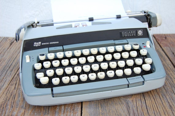 Vintage SCM Smith Corona Galaxie Twelve Typewriter in Amazing Greys