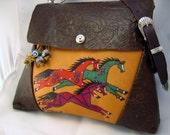 """ONE of a KIND """"Hailstorm Horse"""" Art. Leather shoulder bag in browns and tan. Handmade & decorated by Kathy Kershaw, USA"""