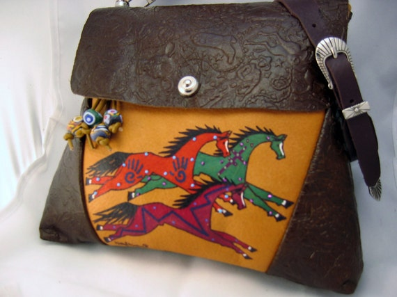 "ONE of a KIND ""Hailstorm Horse"" Art. Leather shoulder bag in browns and tan. Handmade & decorated by Kathy Kershaw, USA"