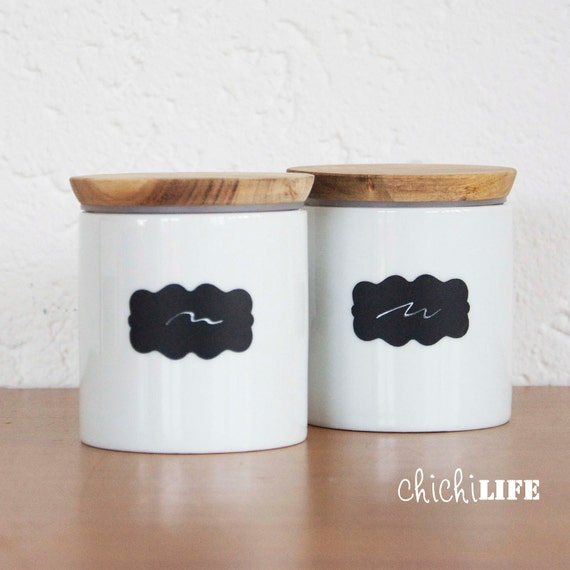 Chalkboard Labels - 20 Small Scalloped Chalkboard Labels, Removable and Repositionable