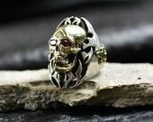 Tribal skull silver brass ring