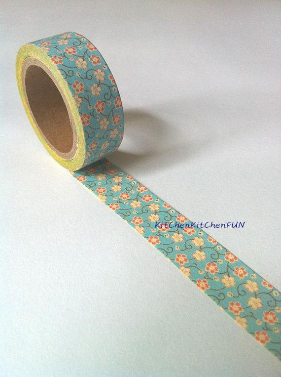 Washi Tape - Blue Floral Pattern (New Size: 15mm x 6m)