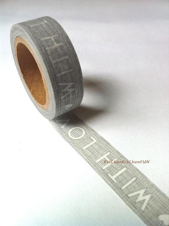 Washi Tape Japanese Masking Tape Grey With Love