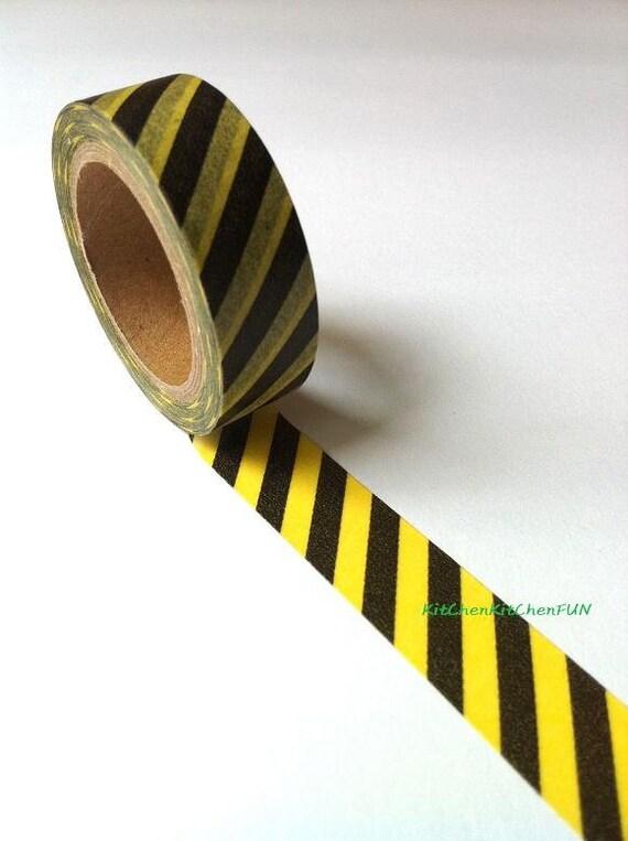 Washi Tape Japanese Masking Tape - Yellow & Black Diagonal Stripe