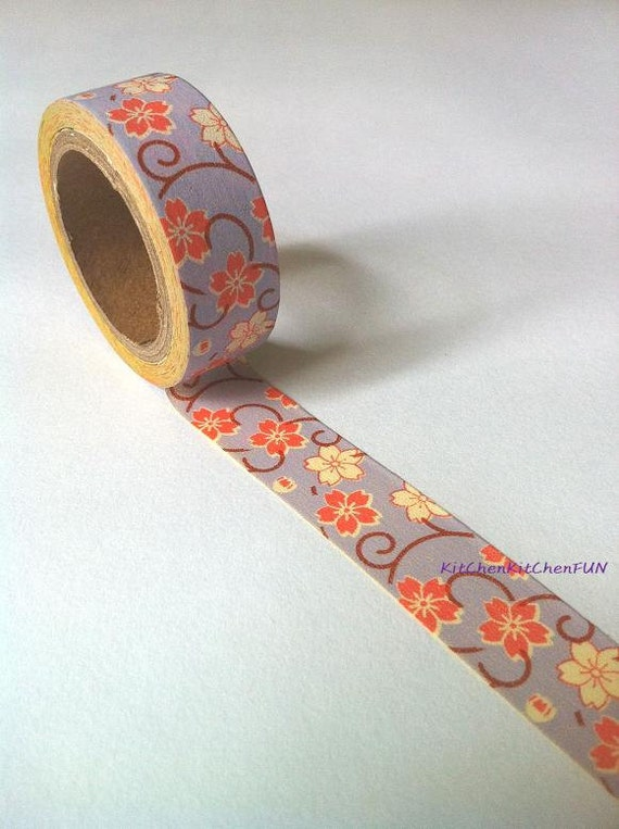 Washi Tape - Purple Floral Pattern (New Size: 15mm x 6m)