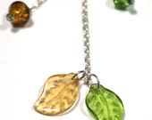 Huge SALE - Shine with Me chain necklace SET with fall mix pressed glass leaves
