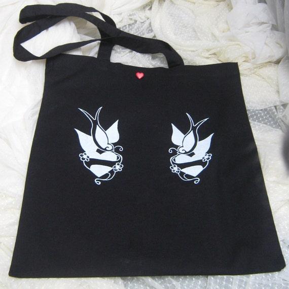 Tote bag - twin swallows and hearts tattoo screenprint