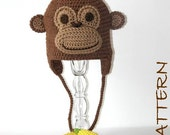 Crochet Animal Hat Pattern - Montgomery the Monkey Earflap Critter Hat - 4 sizes (6 months to adult)