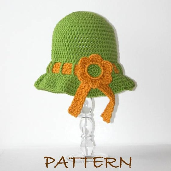 Crochet Hat Pattern - Cheyenne Sun Hat with Ribbon and Flower Detail - 4 sizes (6 months to adult)