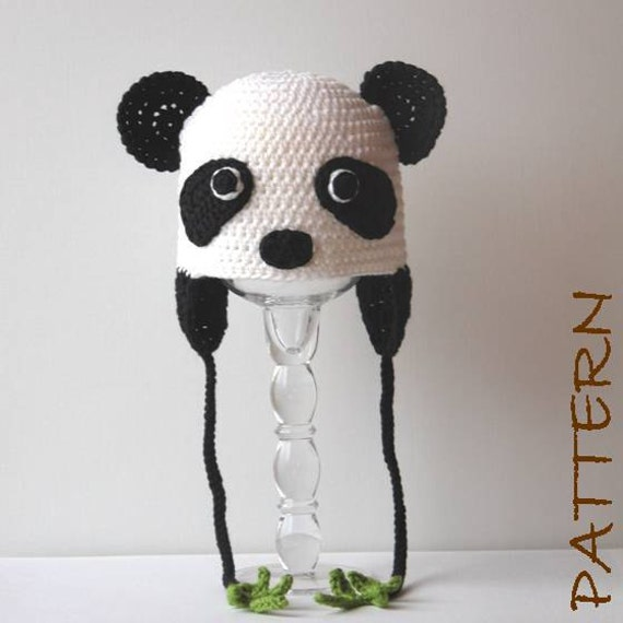 Crochet Animal Hat Pattern Penelope the Panda Earflap