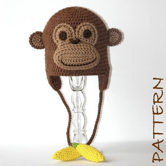 Free Newborn Crochet Animal Hat Patterns : Crochet Animal Hat Pattern Montgomery the Monkey Earflap