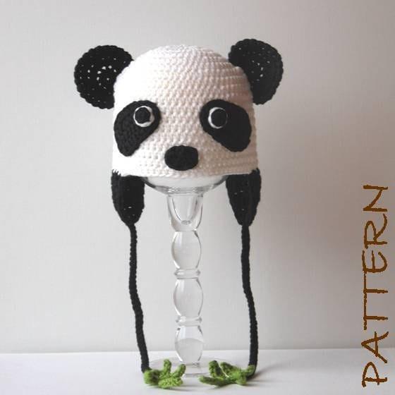 Crochet Animal Hat Pattern Penelope the Panda Earflap