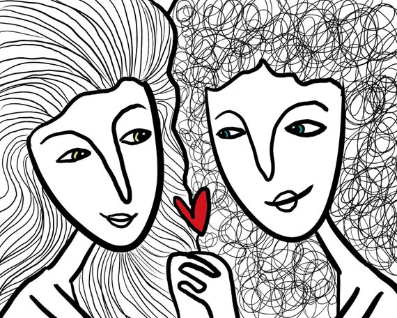 Love is Love- Gay/Lesbian Rights Fine Art Print- Black and white and red- two women-line drawing