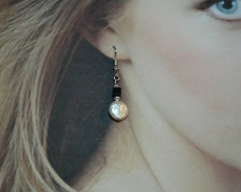 Coin Pearl and Swarovski Crystal Dangle Earrings - Priced 50% Off Clearance
