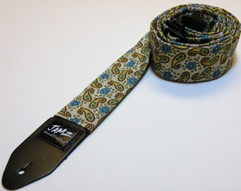 Handmade double padded Paisley Guitar Strap - RAIN DROPS - Blue Flowers