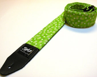 Handmade Girls Guitar Strap - DAISY PATCH - Green with white Daisies