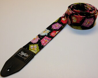 SNOOZIN' HOOTERZ Handmade Double Padded Guitar Strap - Save the Hooters - Hooter Owls - Whimsical