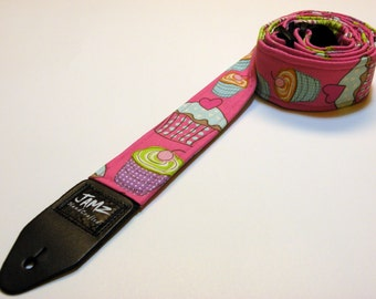 ROCKABILLY CUPCAKE - Handmade Double Padded Guitar Strap - Pink straps - Cupcakes