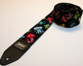 Handmade Guitar Strap - MONSTER JAMZ - Aliens- Creatures