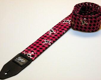 Pink Guitar Strap - HOUNDS TOOTH SUPREME - Punk Rock - Skull & Crossbones