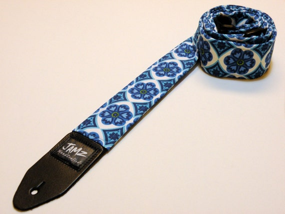 Blue Floral Handmade Double Padded Guitar Strap - BLUE-TIFUL - Flowers