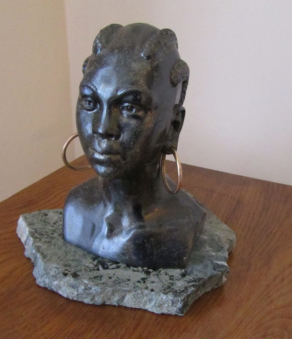 African Woman Statue Signed By Geo L Trevino By Saleofestates