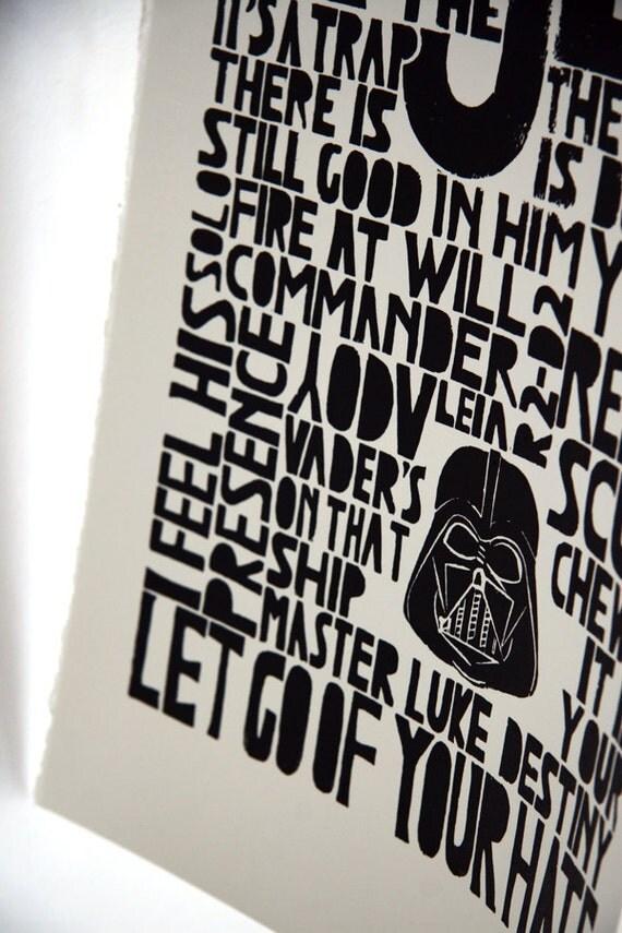 Star Wars Art Print - Return of the Jedi, kids wall art, children decor, inspirational fun geek quote - Lino art letterpress black