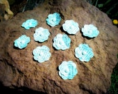 Tiffany blue/ turquoise vintage paper wedding flowers. 10ct
