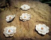 10 Handmade vintage book paper flowers, script with pearl