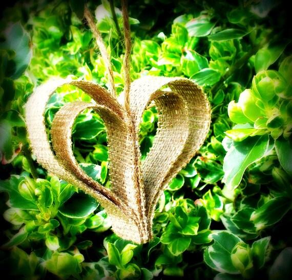 Rustic burlap heart ornament/ 5 large ornaments