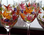 4 ROUSSEAU Inspired Wine Glasses Handpanted