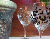 4 ANIMAL PRINT Wine Glasses handpainted